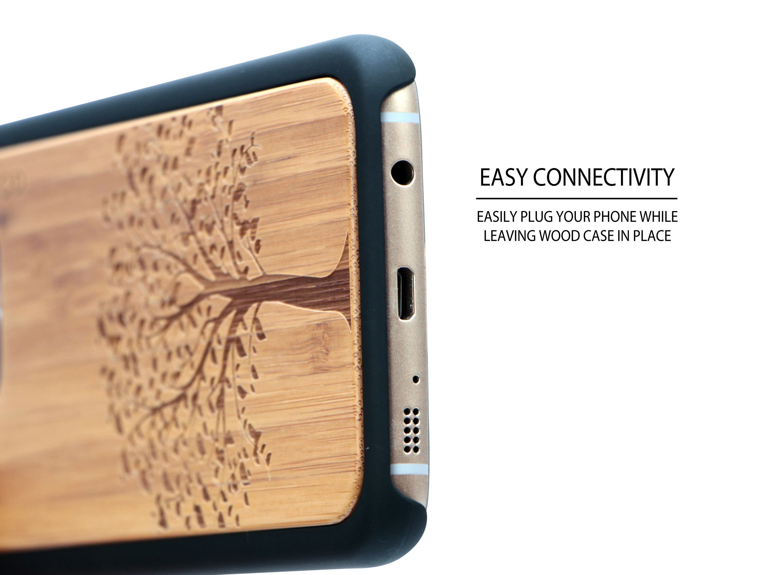 Samsung Galaxy S7 Edge wood case tree socket