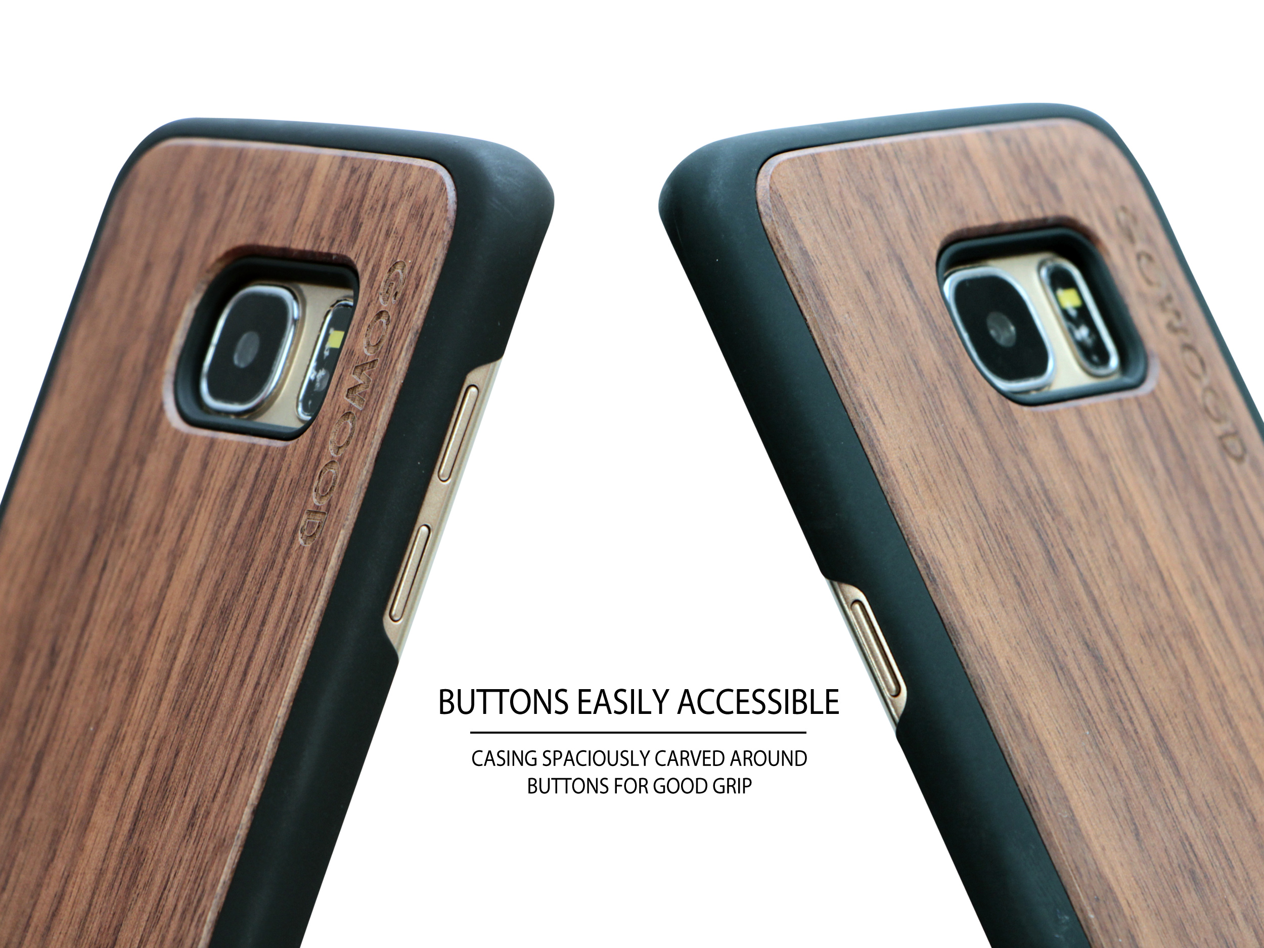 Samsung Galaxy S7 Edge wood case walnut buttons