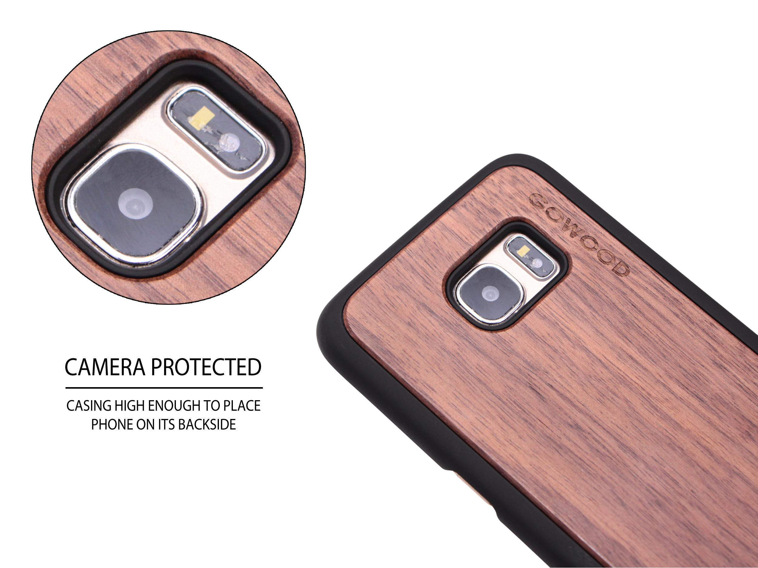 Samsung Galaxy S7 Edge wood case walnut camera