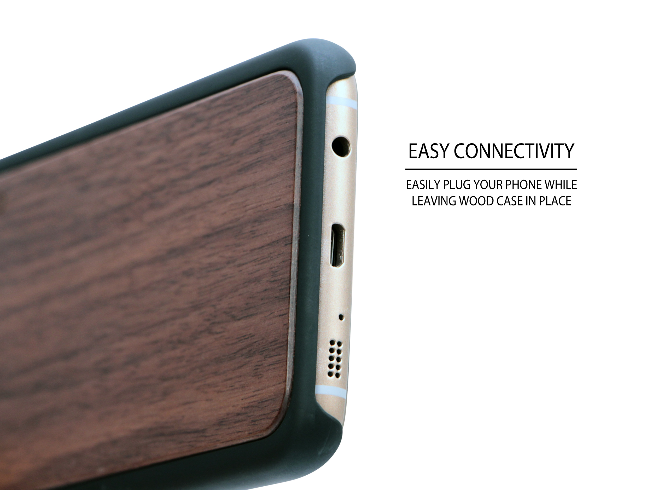 Samsung Galaxy S7 Edge wood case walnut socket