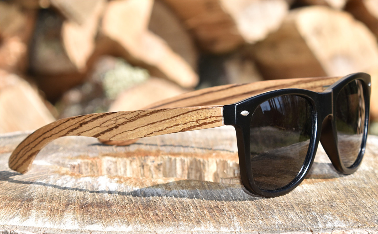 Zebra wood sunglasses with black polarized lenses