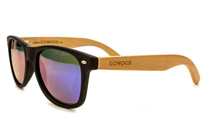 classic wayfarer sunglasses blue mirrored lenses angle