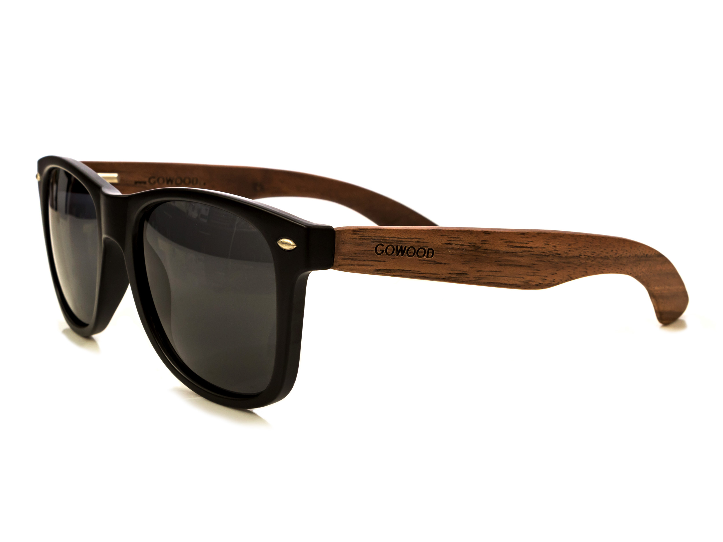 classic wayfarer sunglasses with walnut legs angle