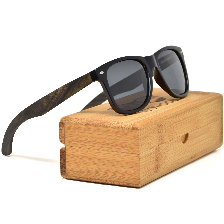 Ebony wood wayfarer sunglasses black lenses on bamboo box