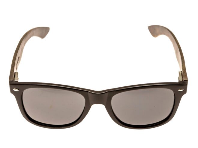 classic wayfarer sunglasses with ebony legs front