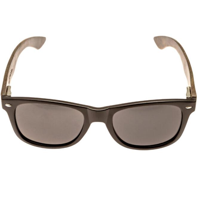 Ebony wood wayfarer sunglasses black lenses acetate front frame