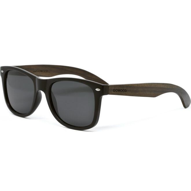 Ebony wood wayfarer sunglasses with black polarized lenses