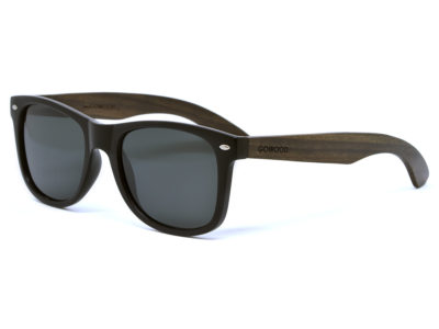 Ebony wood sunglasses wayfarer style with black polarized lenses