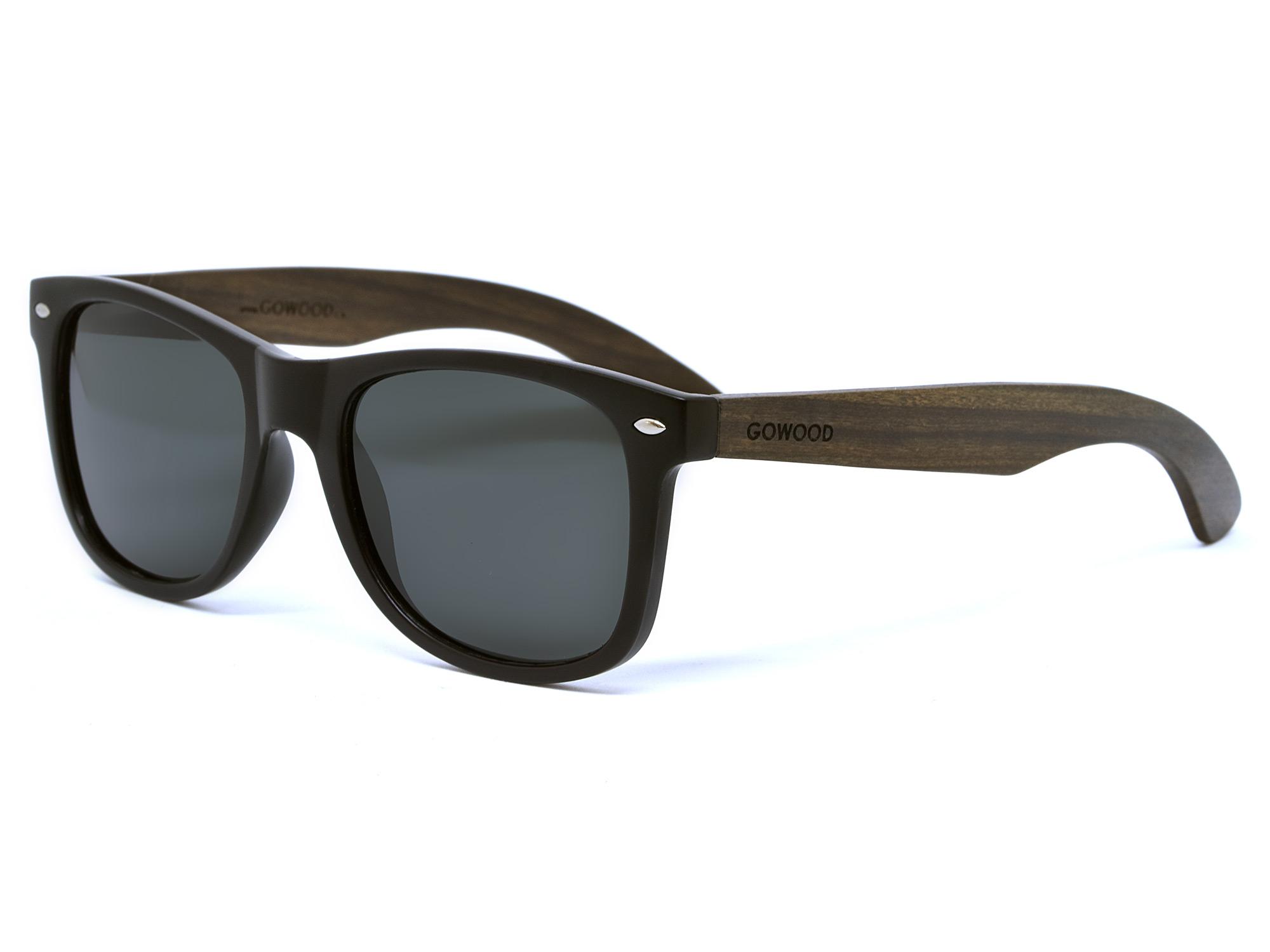 Ebony wood sunglasses wayfarer style with black polarized lenses