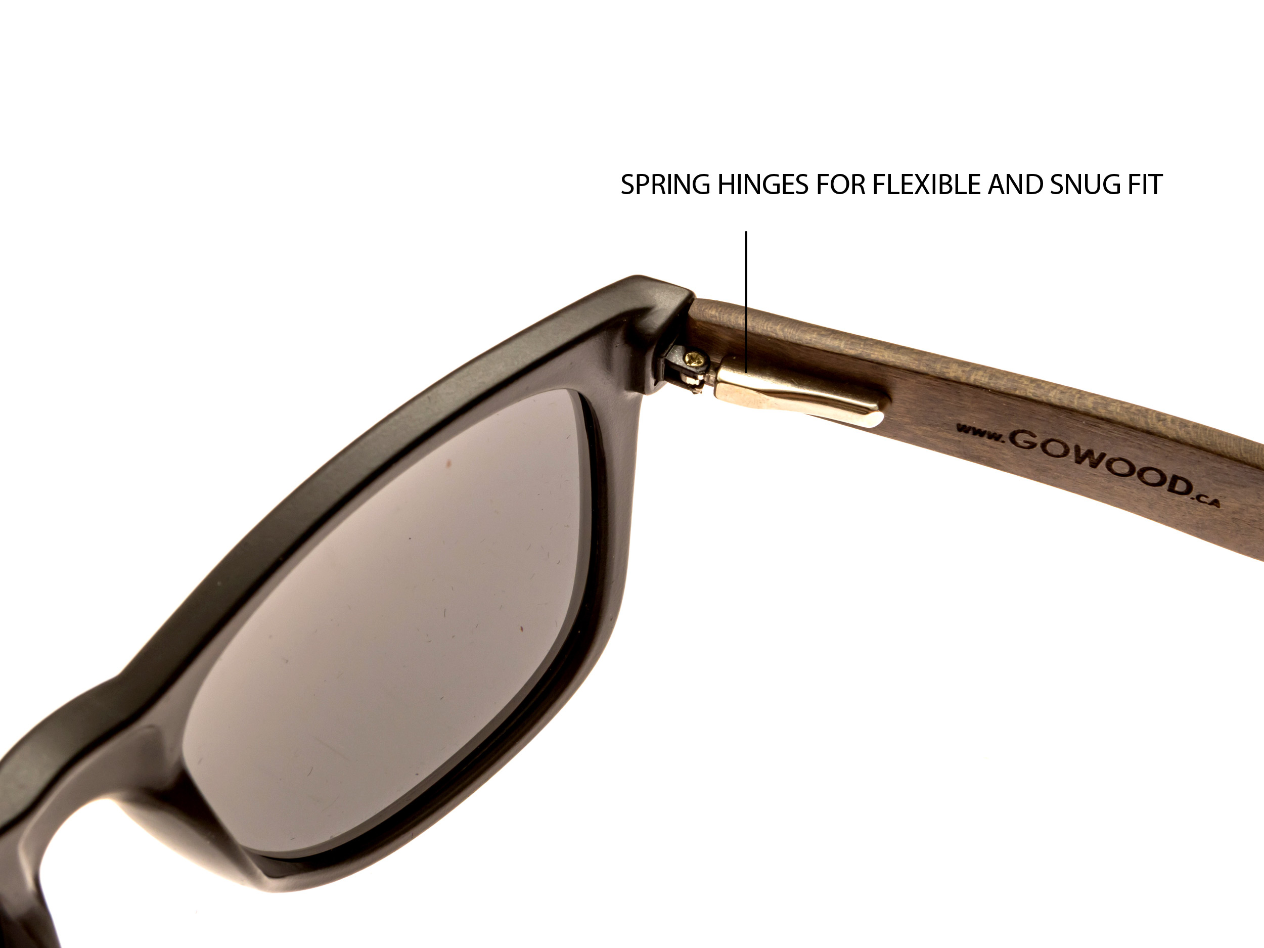 classic wayfarer sunglasses with ebony legs hinge