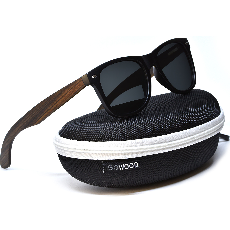 Ebony wood wayfarer sunglasses black lenses on zipper case