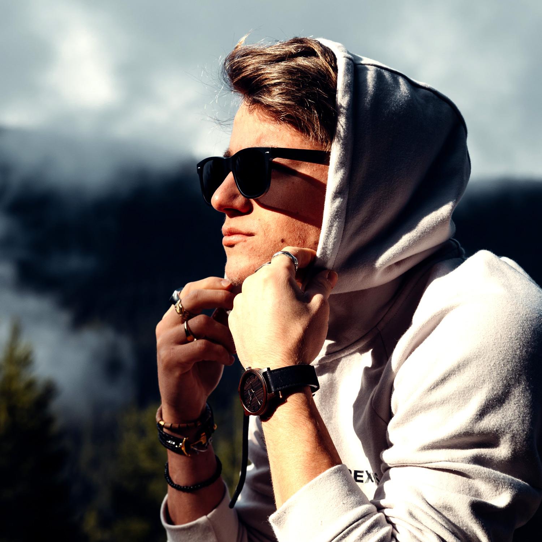 Ebony wood wayfarer sunglasses black lenses on men