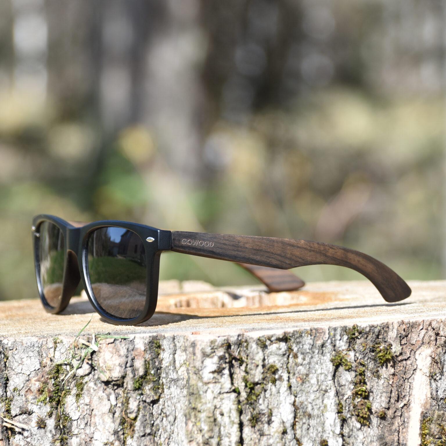 Ebony wood wayfarer sunglasses black lenses outdoors