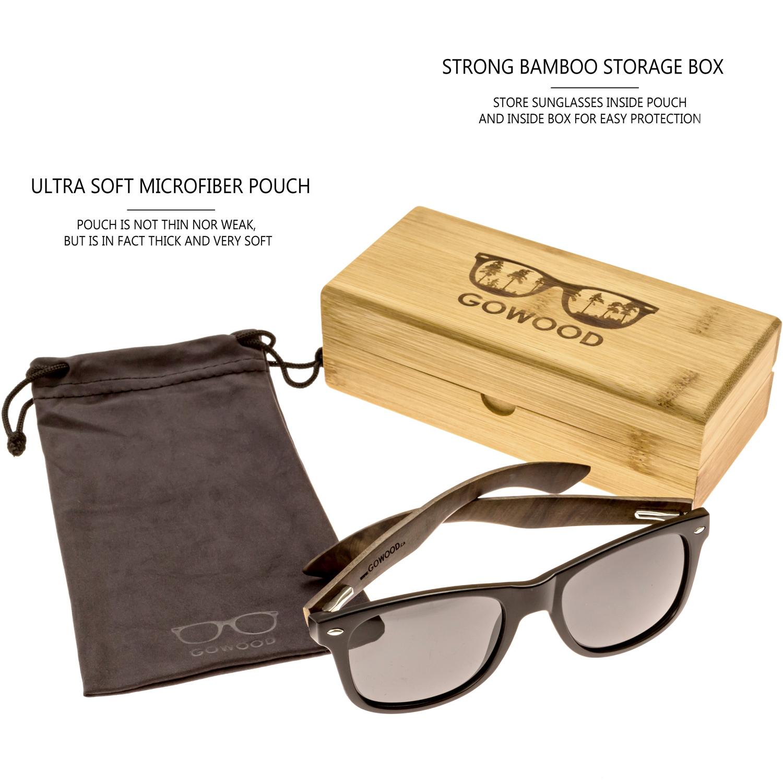 Ebony wood wayfarer sunglasses black lenses set bamboo box