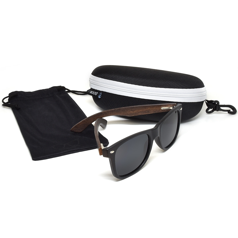 Ebony wood wayfarer sunglasses black lenses acetate set zipper case