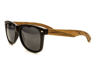 classic wayfarer sunglasses with zebra wood legs angle