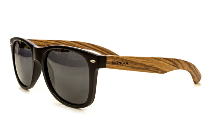classic wayfarer sunglasses with zebra wood legs angle