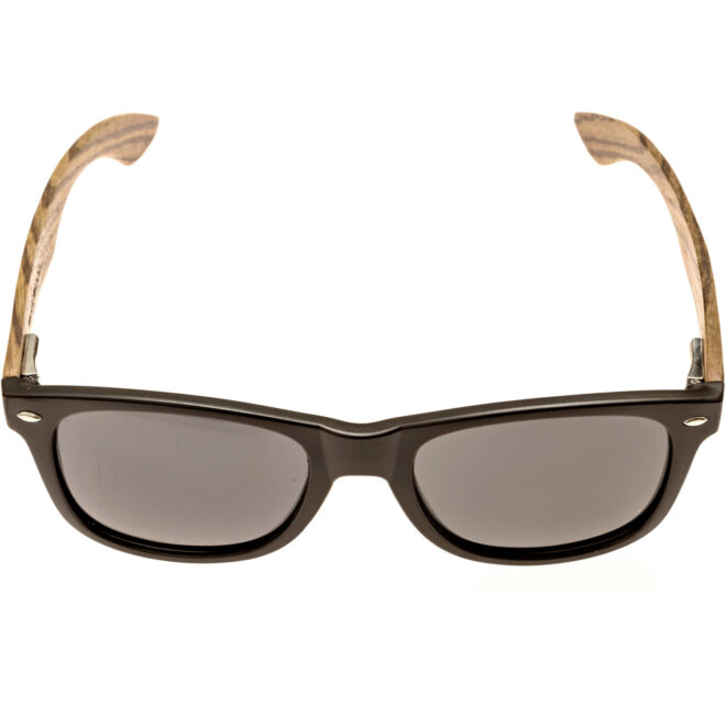 Zebra wood wayfarer sunglasses black lenses front acetate frame