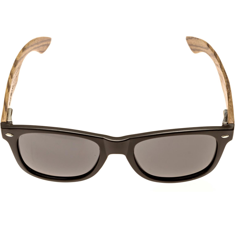 Zebra wood wayfarer sunglasses on women