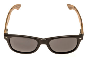 classic wayfarer sunglasses with zebra wood legs front