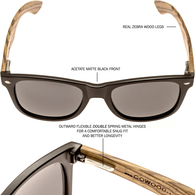 Zebra wood wayfarer sunglasses black lenses hinge and frame