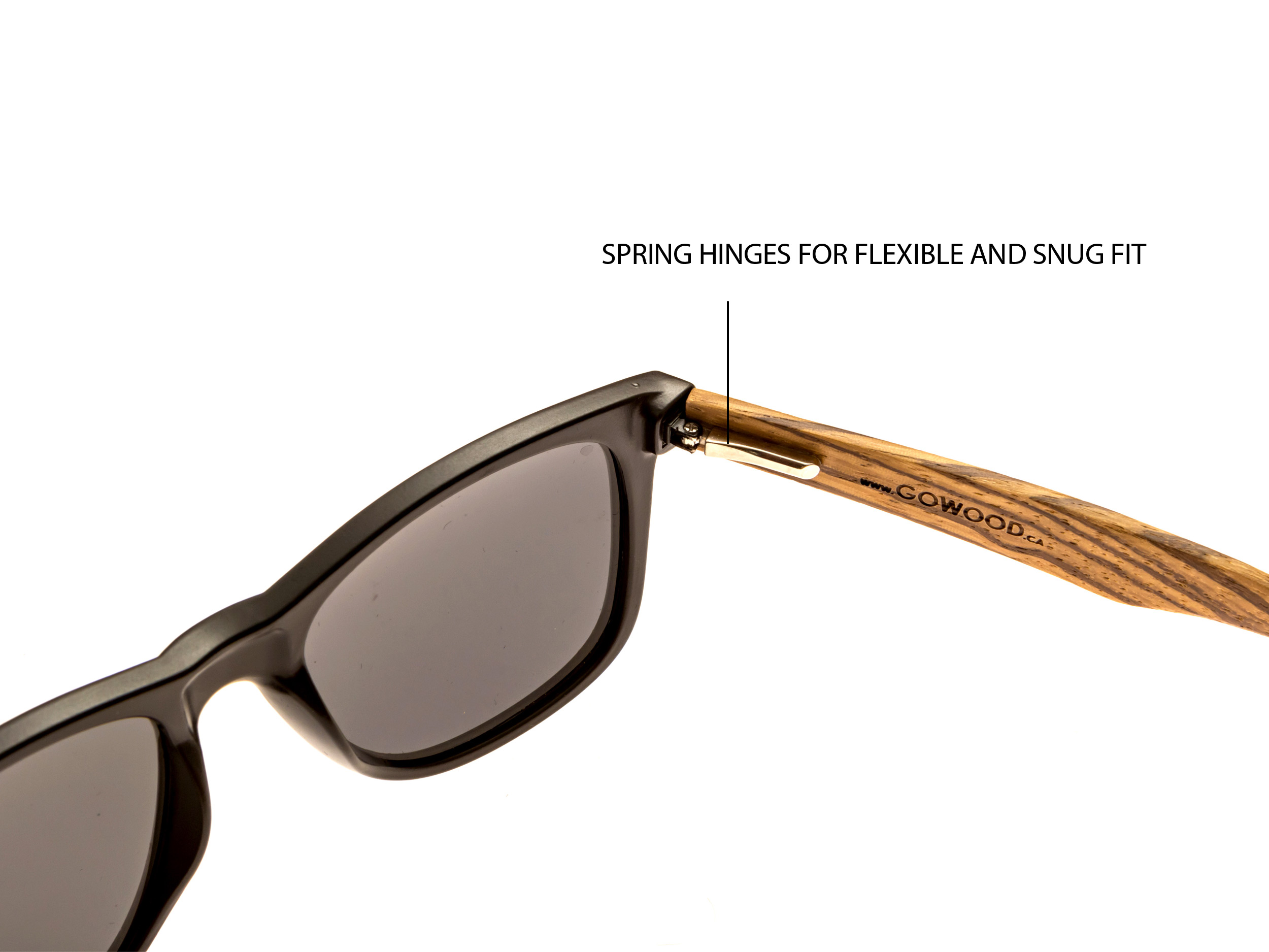 classic wayfarer sunglasses with zebra wood legs hinge