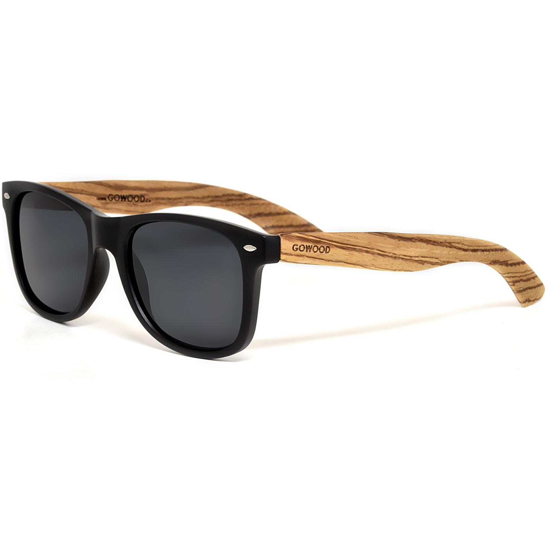 Zebra wood wayfarer sunglasses with black polarized lenses