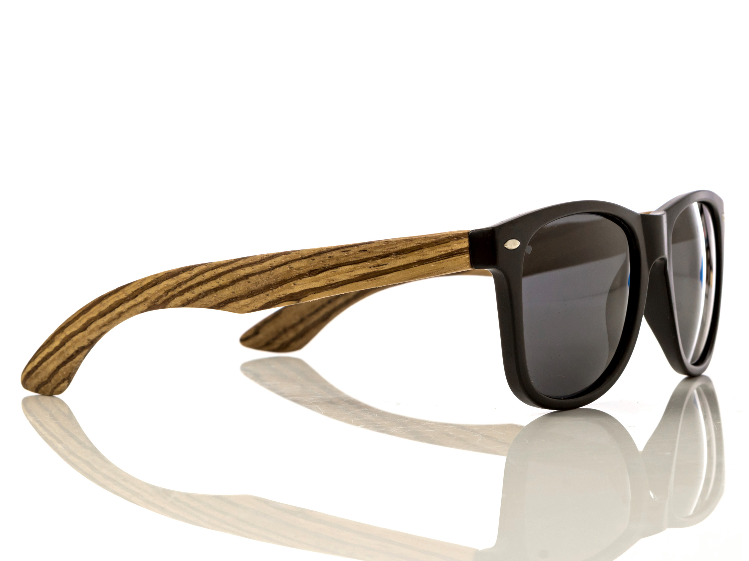 classic wayfarer sunglasses with zebra wood legs right