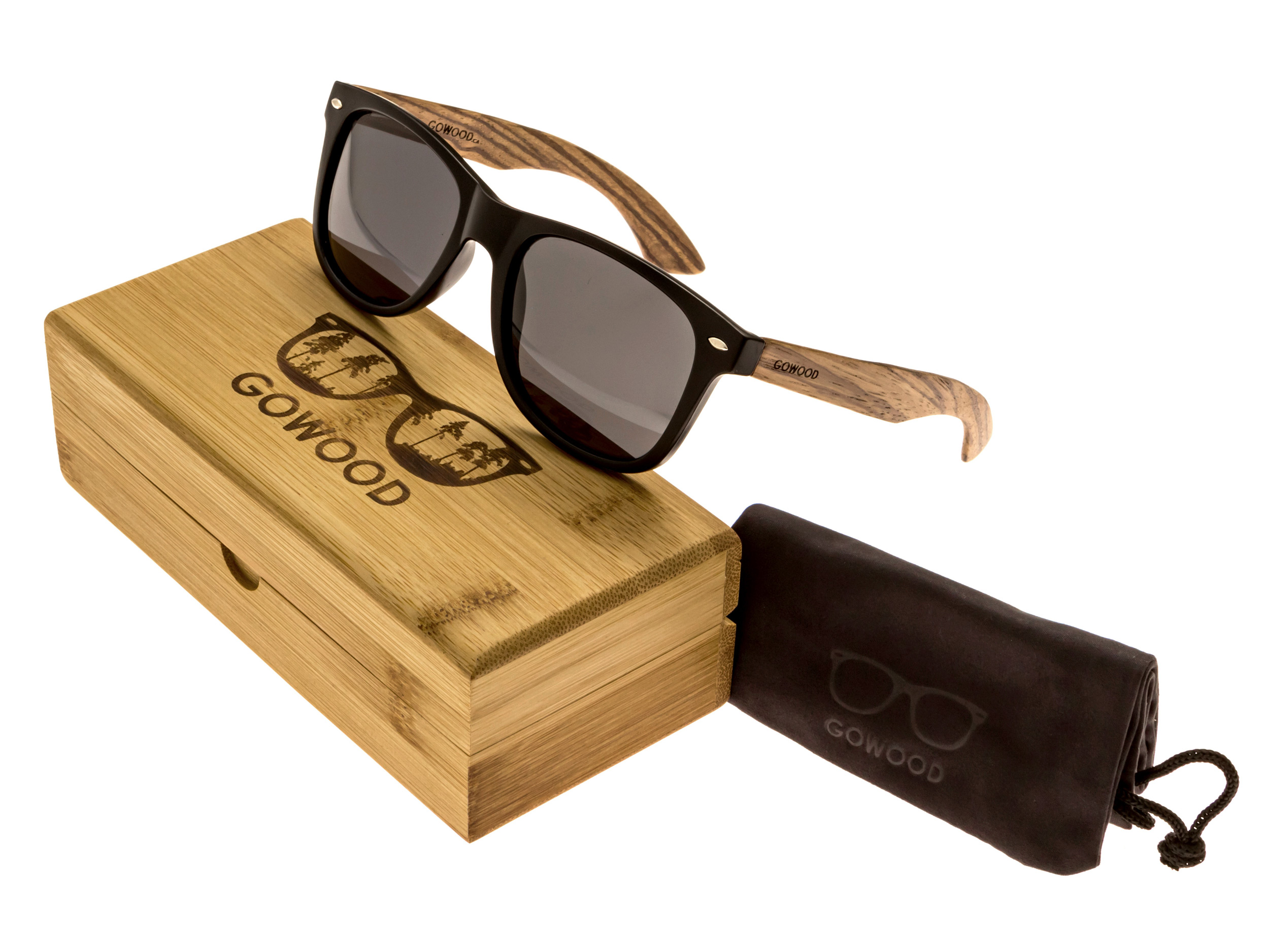 classic wayfarer sunglasses with zebra wood legs set