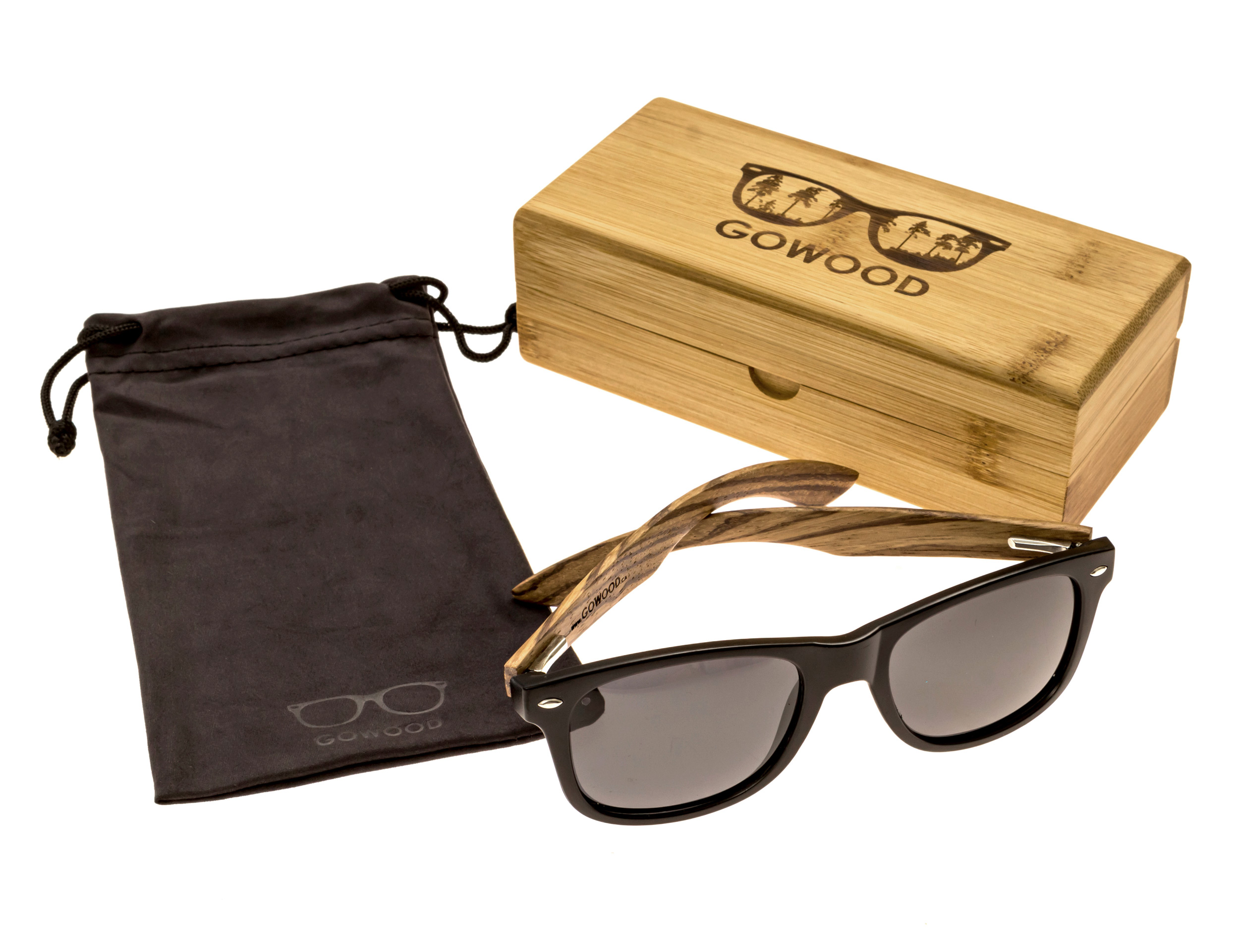 classic wayfarer sunglasses with zebra wood legs set 2