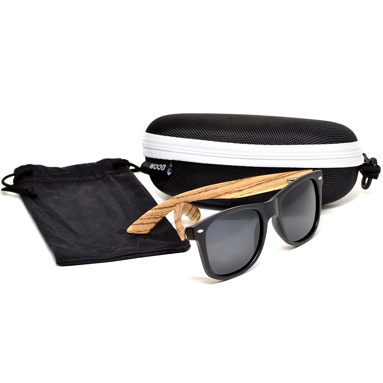 Zebra wood wayfarer sunglasses black lenses set zipper case