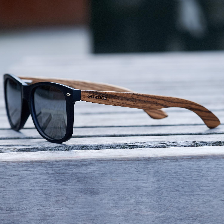 Zebra wood wayfarer sunglasses black lenses