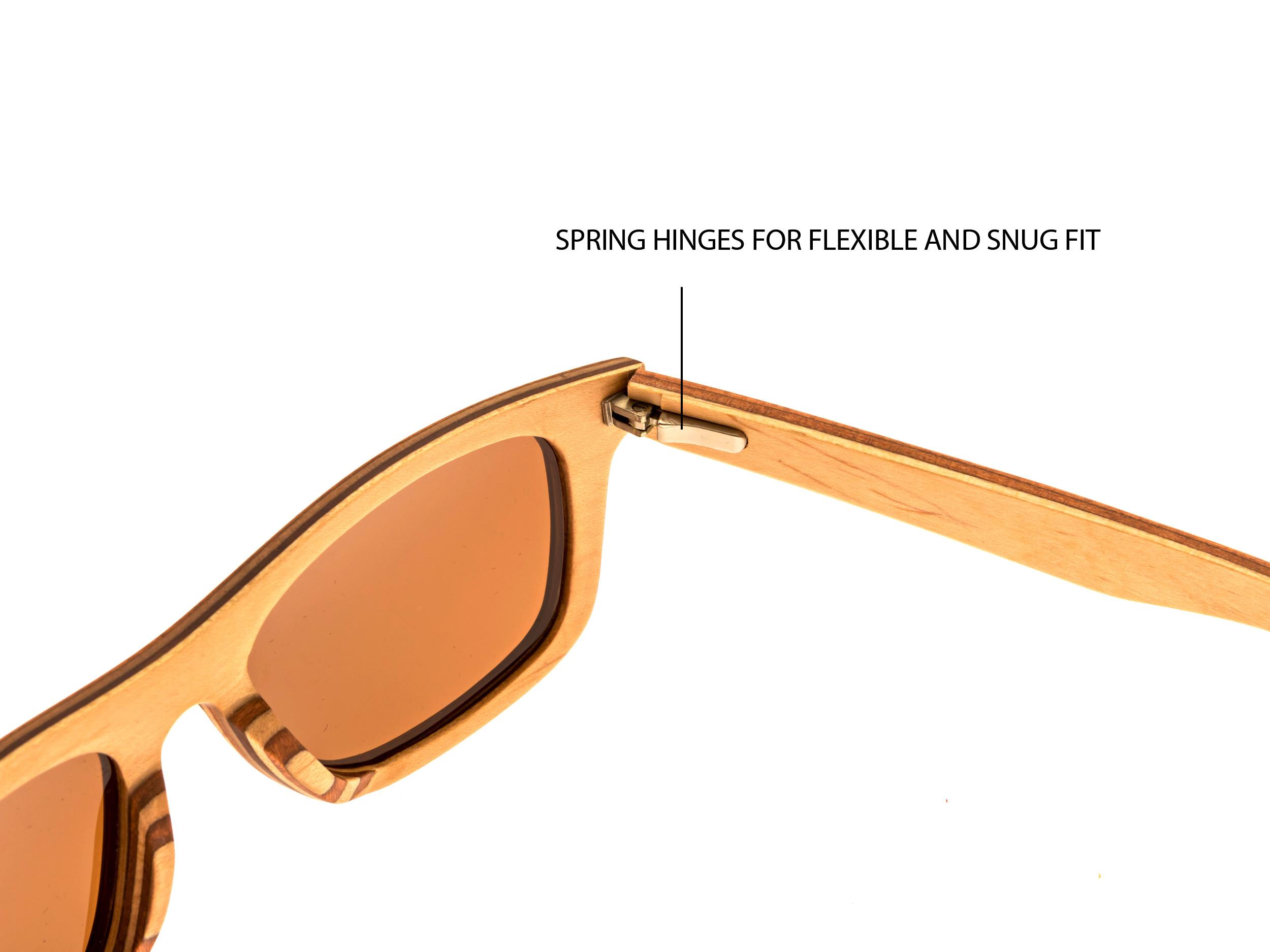 Skateboard wood sunglasses Toulouse hinge