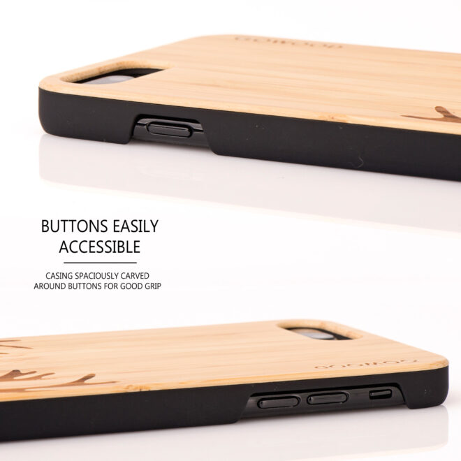 iPhone 7 Plus and 8 Plus wood case deer - buttons
