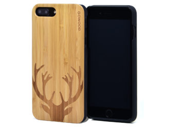 iPhone 7 Plus and 8 Plus bamboo wood case world deer