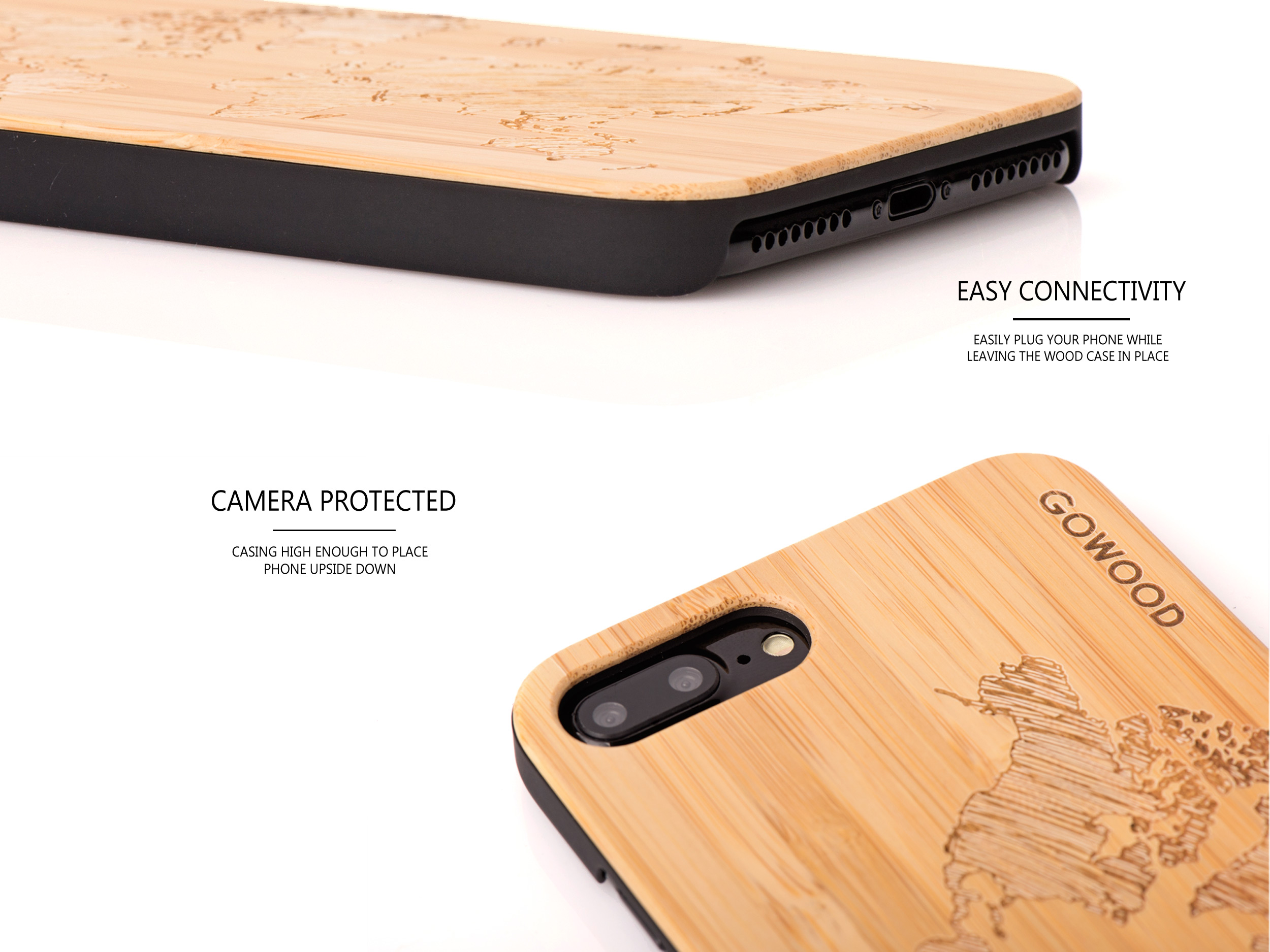 iPhone 7 Plus and 8 Plus wood case map - camera