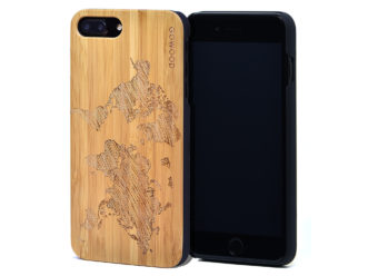 iPhone 7 Plus and 8 Plus bamboo wood case world map