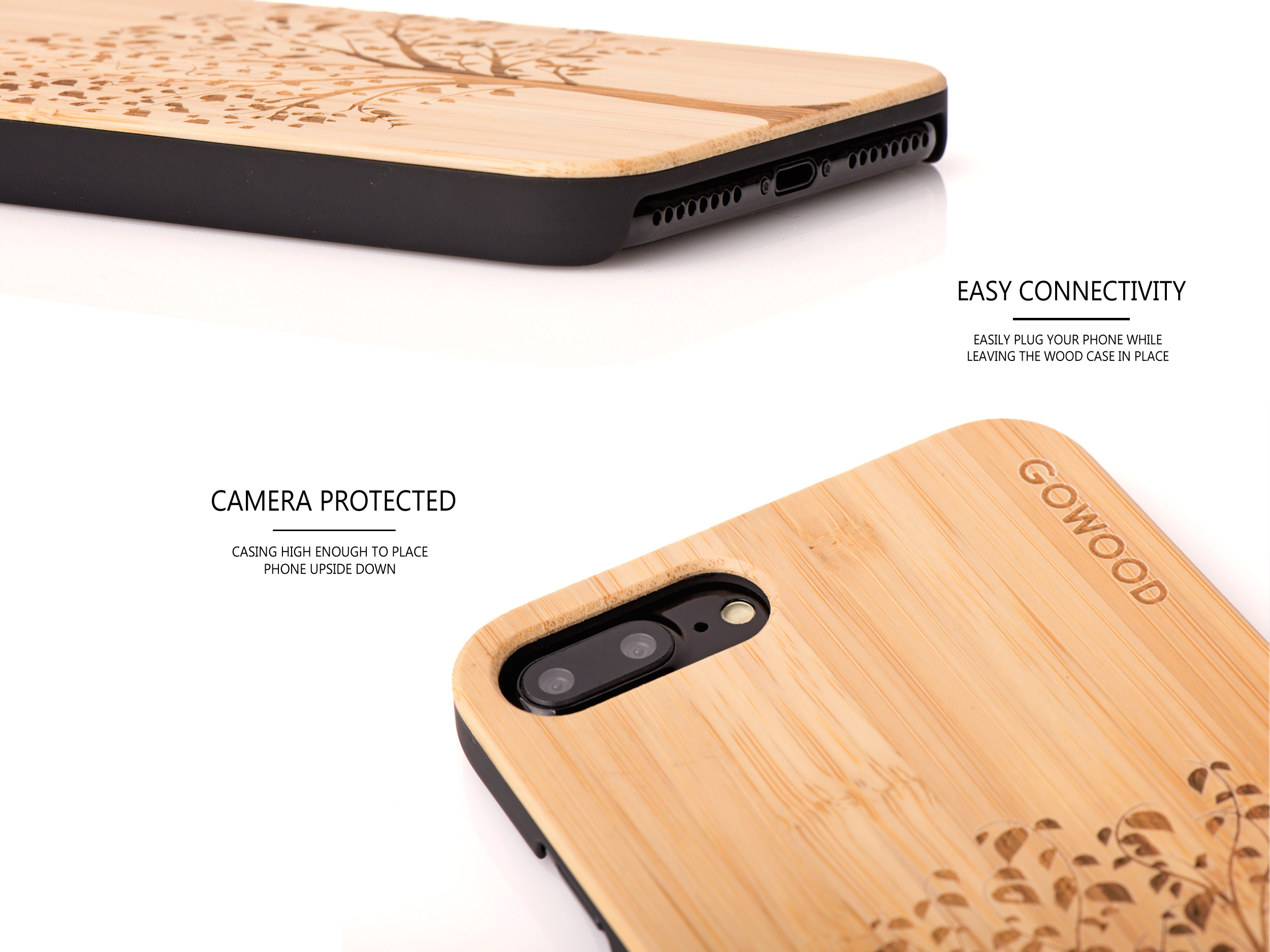 iPhone 7 Plus and 8 Plus wood case tree - camera