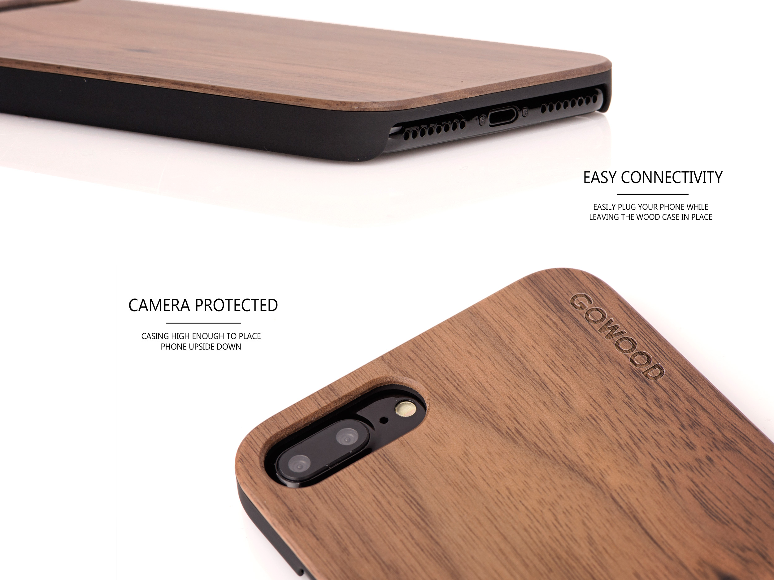 iPhone 7 Plus and 8 Plus wood case walnut - camera
