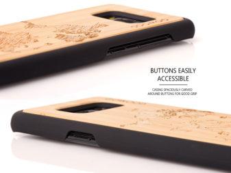 Samsung Galaxy S8 wood case world map - buttons