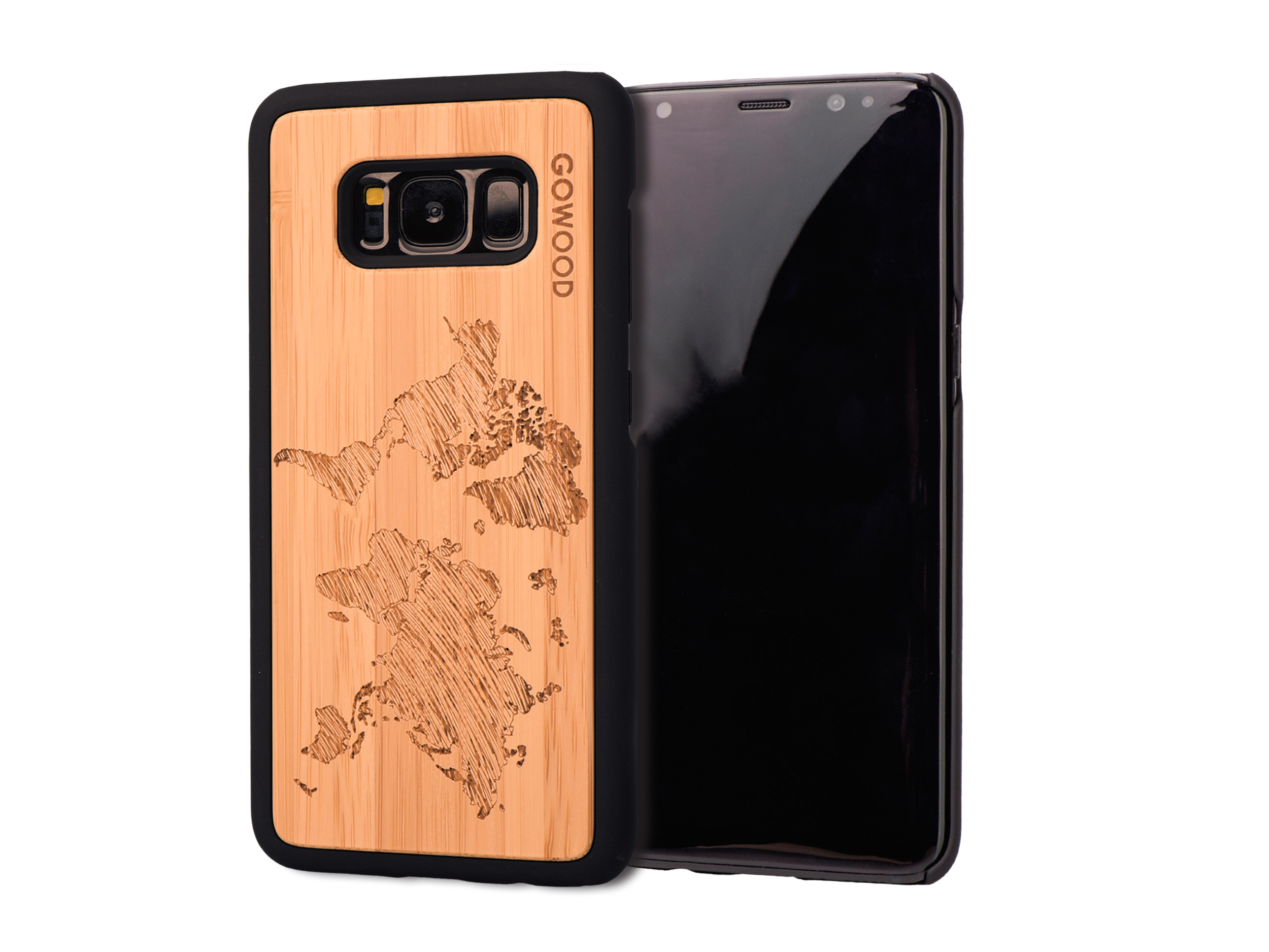 Samsung Galaxy S8 wood case world map