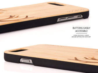 iPhone 6 Plus and 8 Plus wood case deer buttons