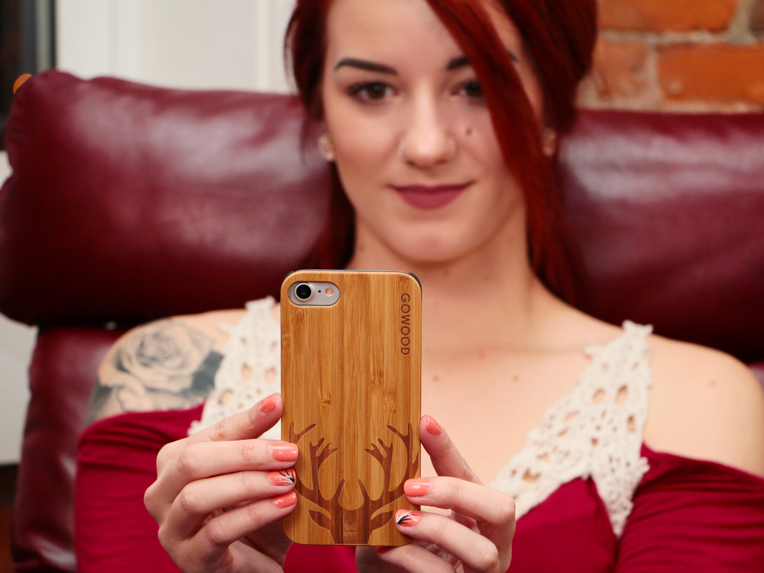 iPhone 6 Plus wood case deer girl
