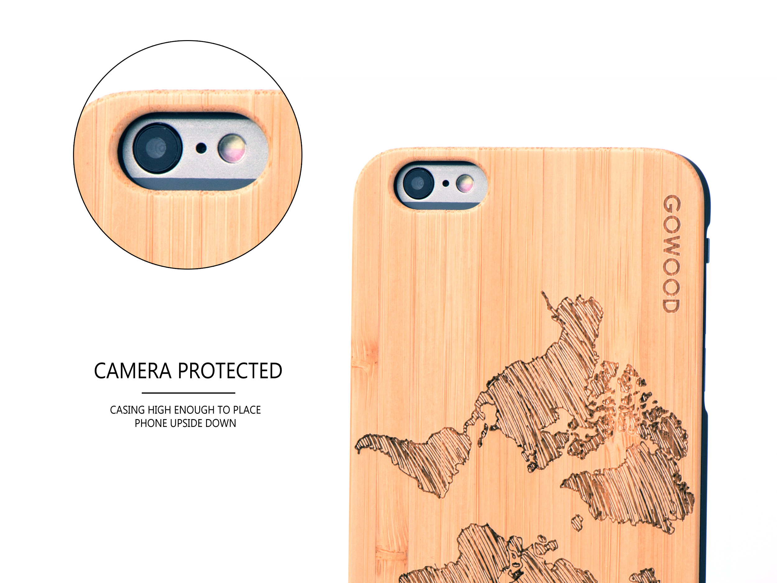 iPhone 6 Plus wood case map camera