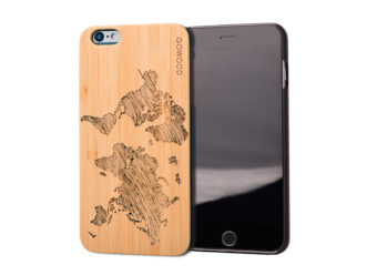 iPhone 6 Plus wood case map