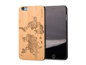 iPhone 6 Plus wood case map