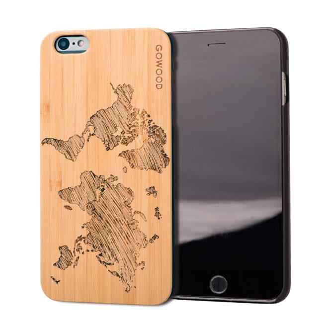 Étui iPhone 6 Plus en bois carte du monde