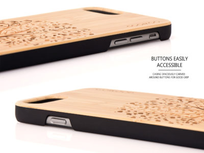 iPhone 6 Plus wood case tree buttons