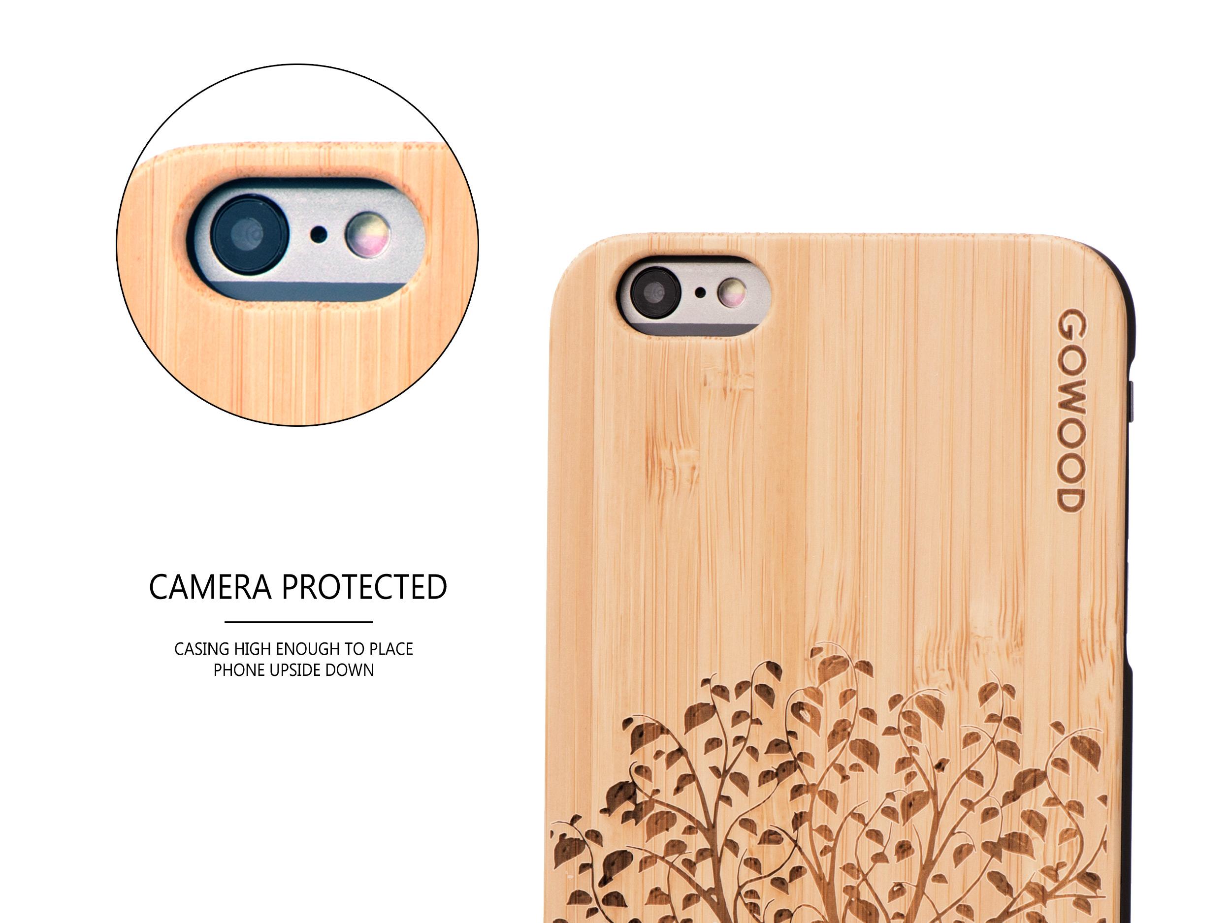 iPhone 6 Plus wood case tree camera