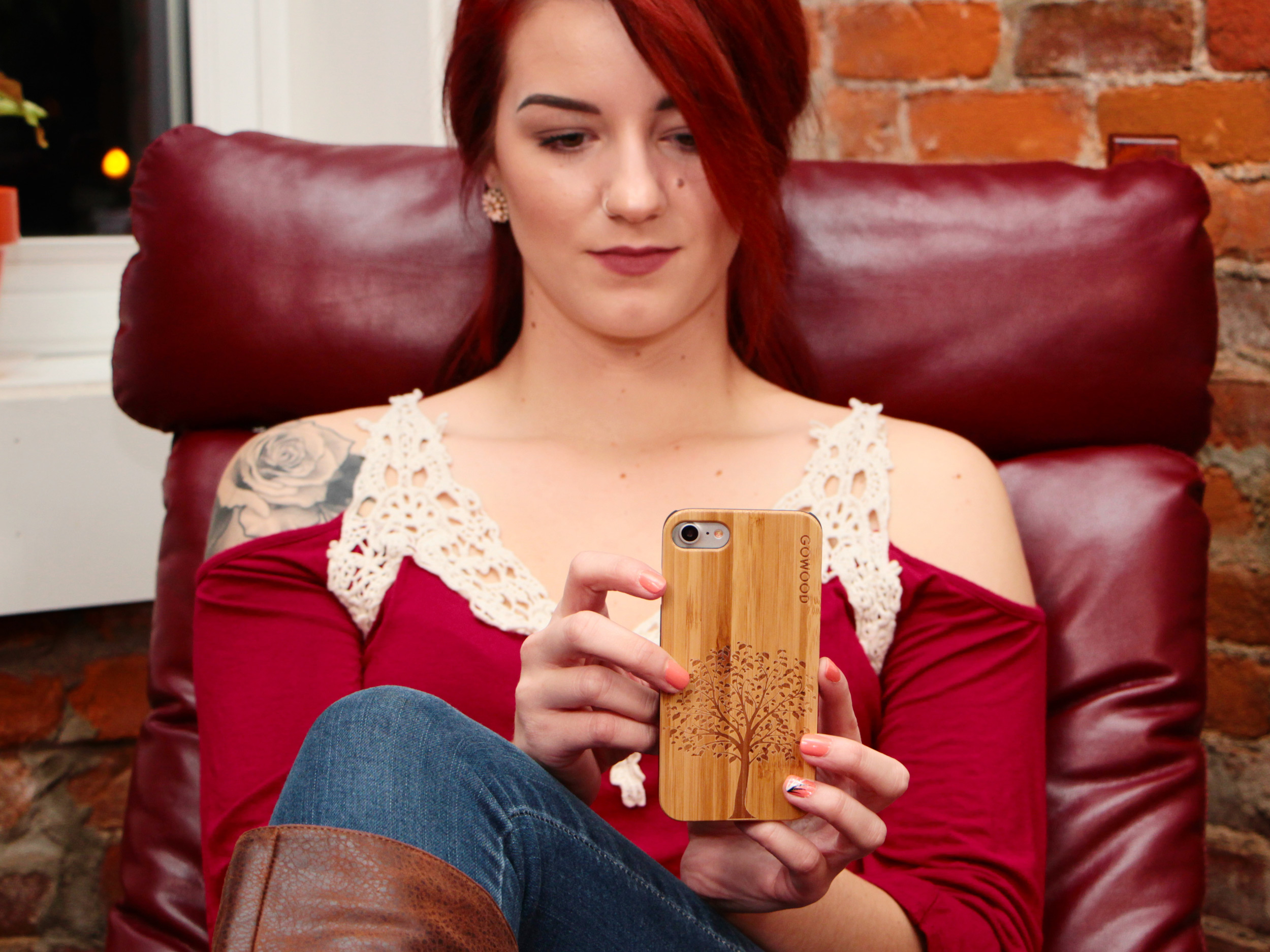 iPhone 6 Plus wood case tree girl